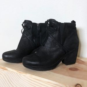 Eileen Fisher Oiled Suede Lace Up Ankle Booties
